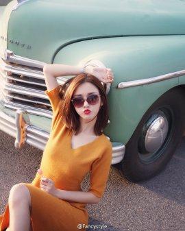 网络红人Fancy橙色连身裙清纯街拍 秀色可餐美丽动人