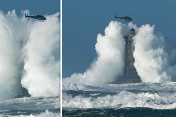 法国海岸掀30米高巨浪如同爆炸 直升机险遭吞没