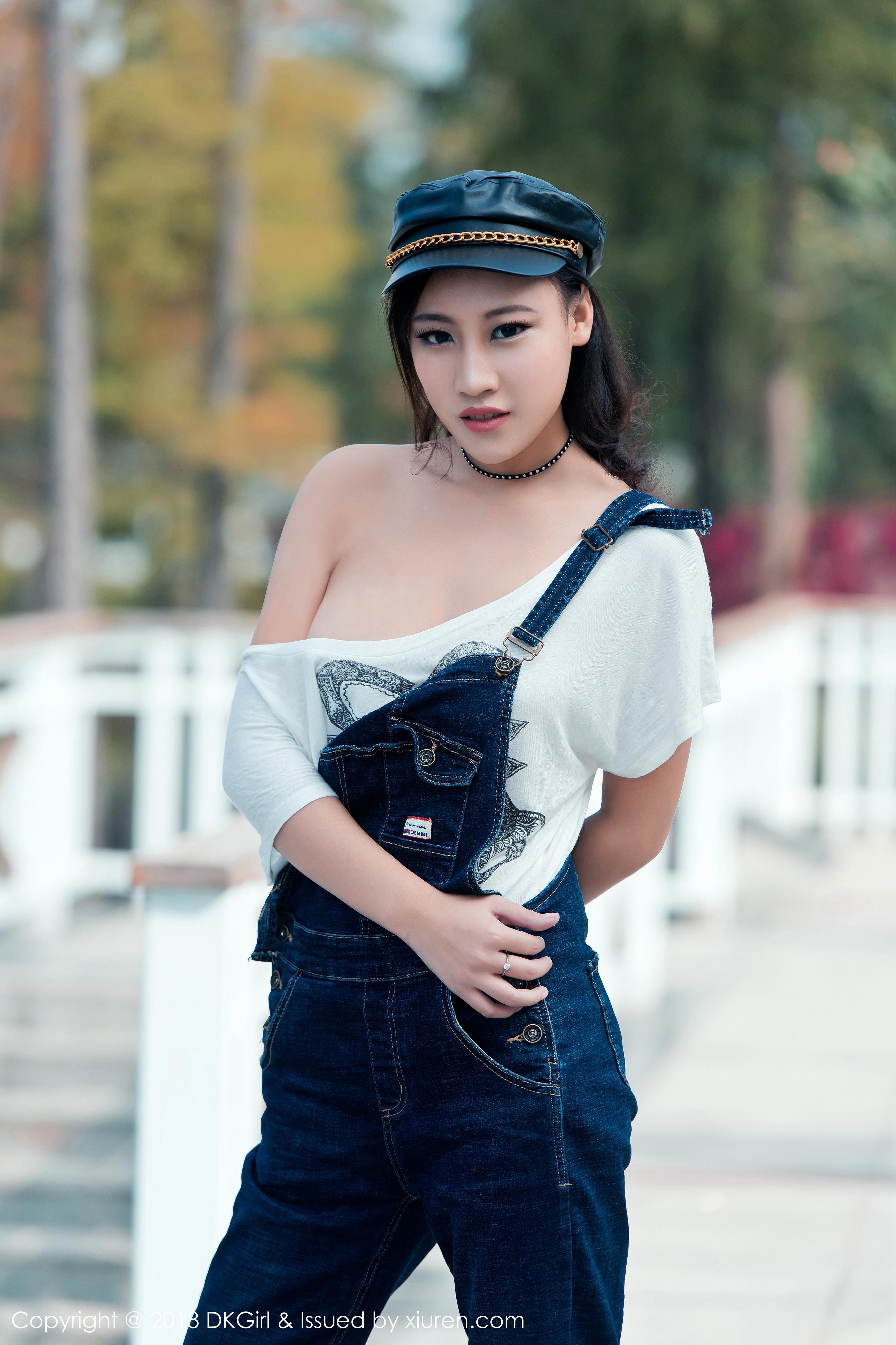 [DKGirl御女郎]DK20180205VOL0057 梦倩 牛仔吊带连身裤加黑色丝袜美腿郊外狂野写真集