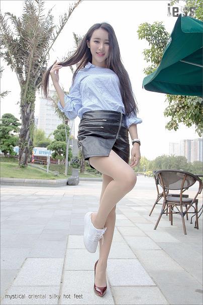 [IESS异思趣向]Model SASA莎莎 蓝色衬衫与黑色包臀短裙加肉色丝袜美腿性感写真集