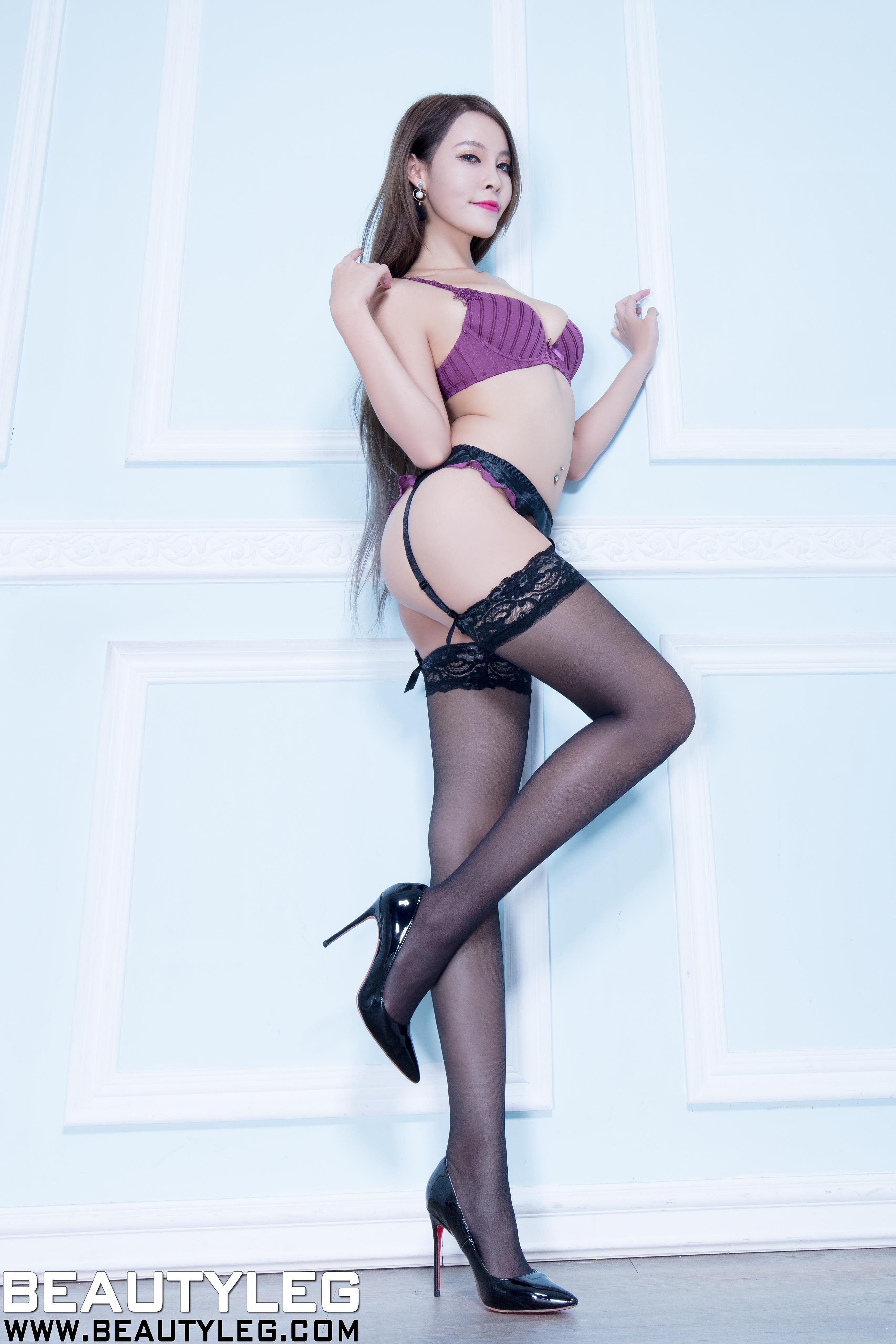 [beautyleg美腿写真]No.1613 Aileen 紫色性感内衣加黑色吊带丝袜美腿私房写真集