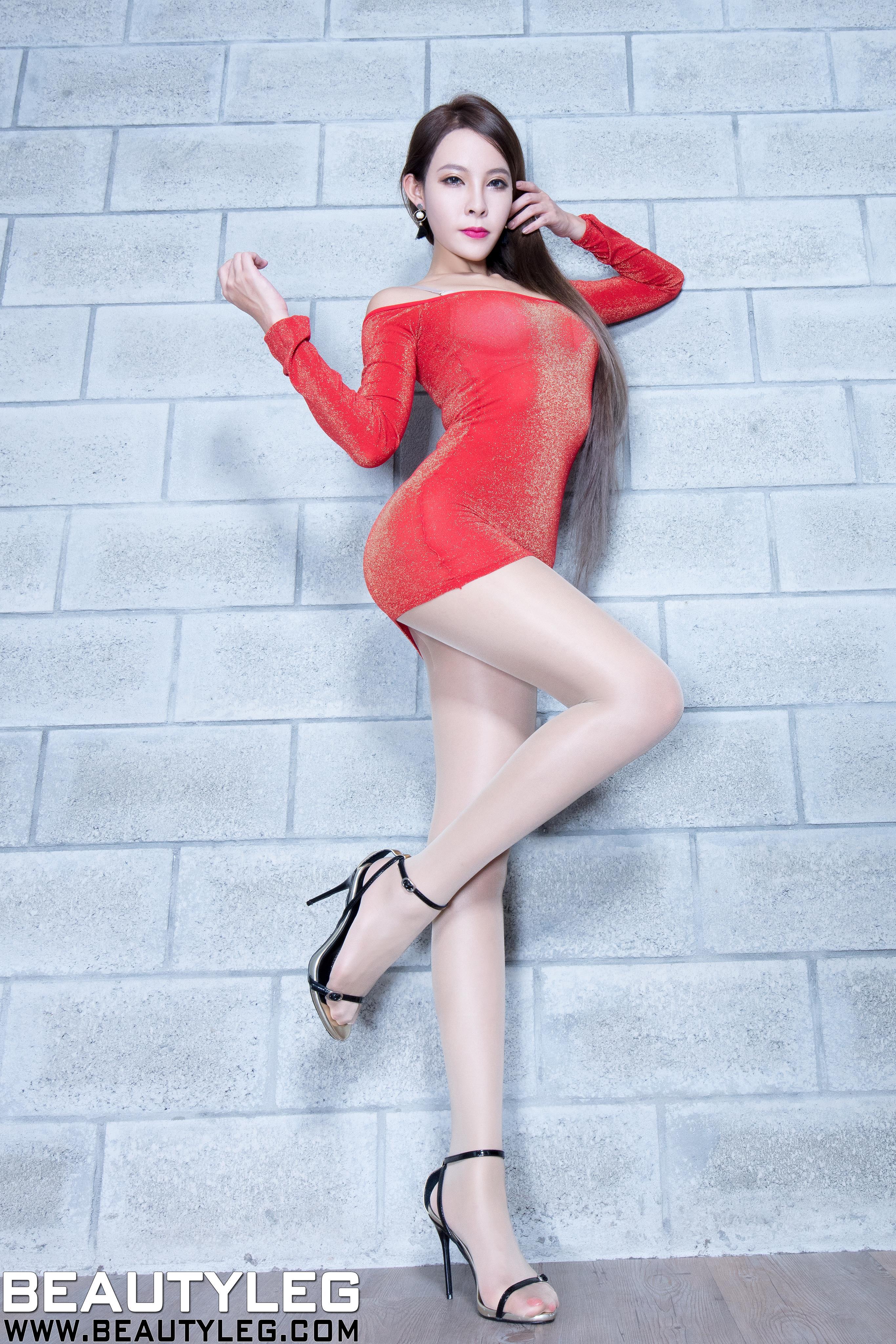 [beautyleg美腿写真]No.1613 Aileen 红色连身紧身裙加肉色丝袜美腿性感私房写真集