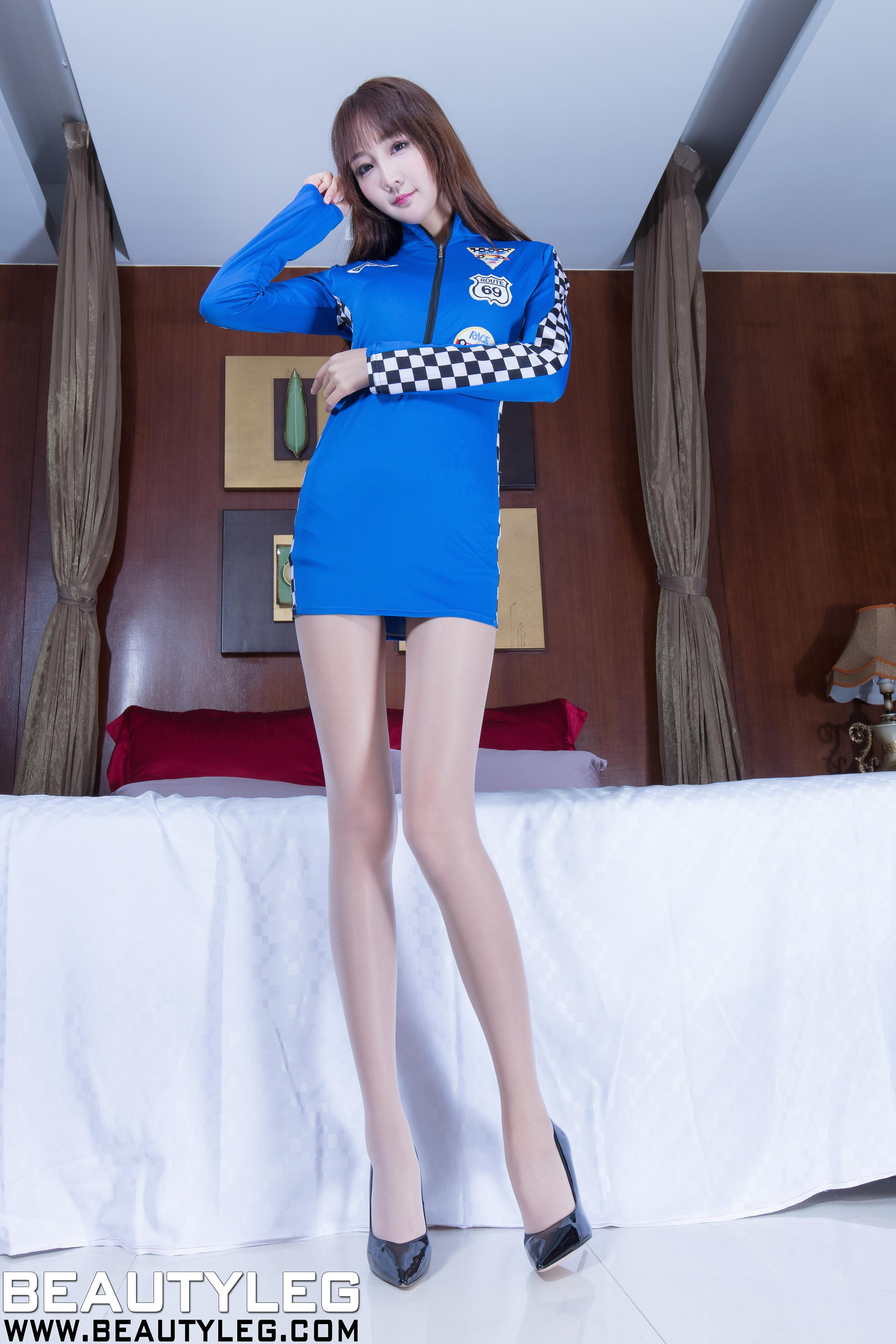 [beautyleg美腿写真]No.1614 Iris 蓝色赛车女郎制服加肉色丝袜美腿性感私房写真集