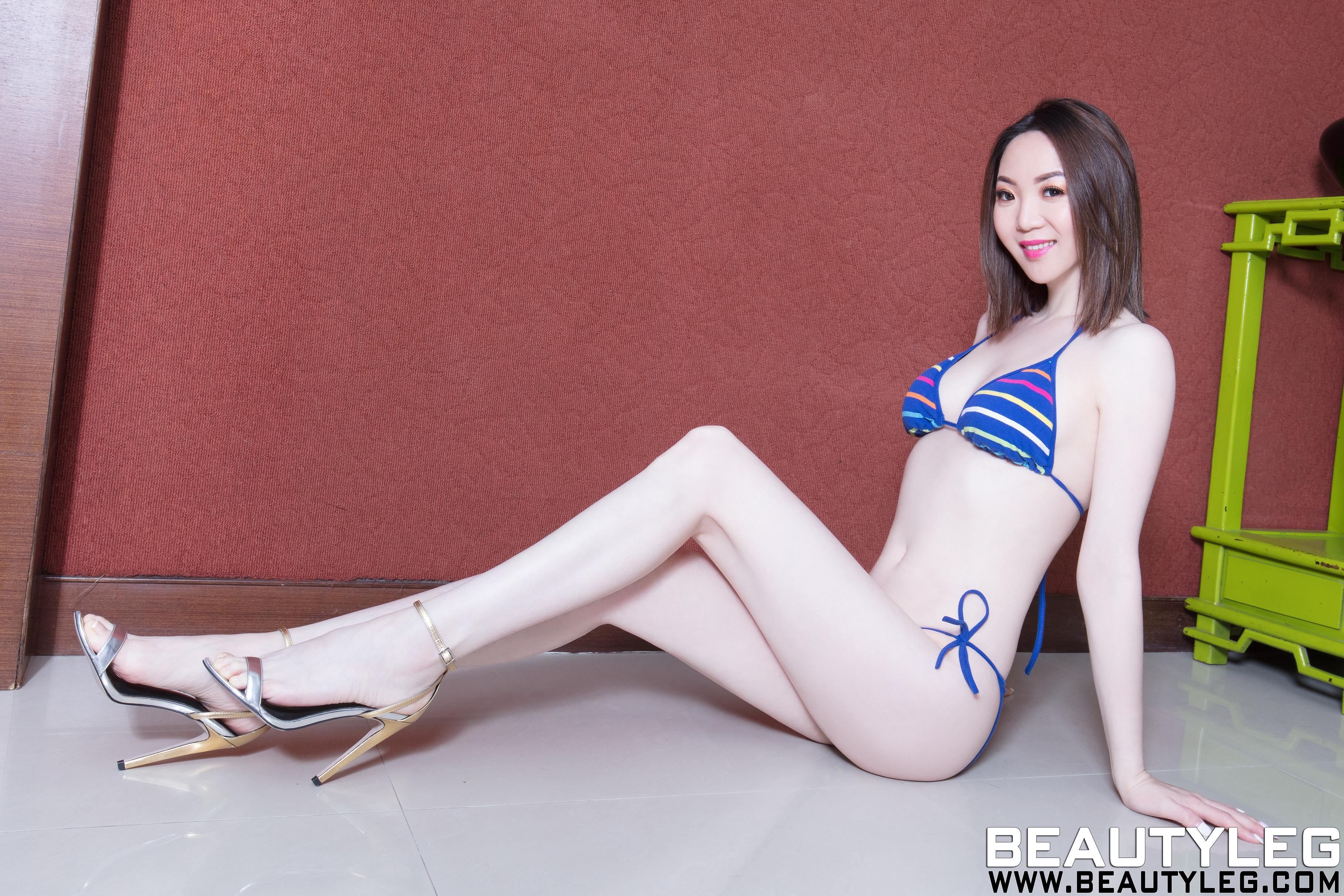 [beautyleg美腿写真]No.1616 Clear 蓝色比基尼泳装性感私房写真集