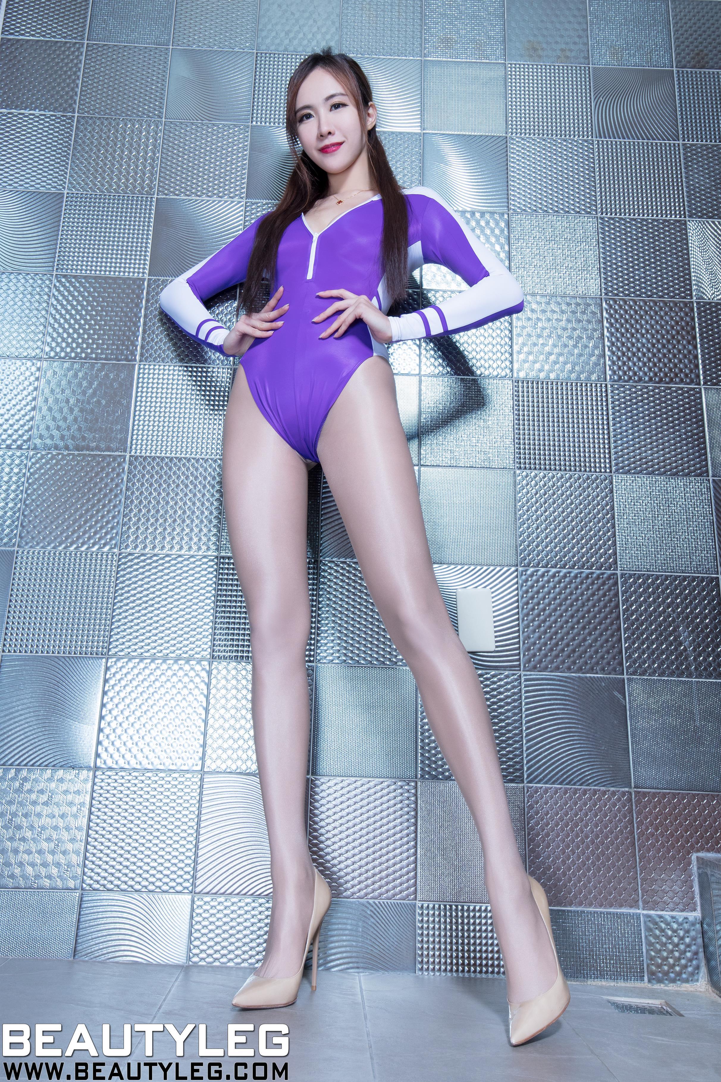 [beautyleg美腿写真]No.1617 Dora 紫色连体比基尼泳装与灰色丝袜美腿性感私房写真集