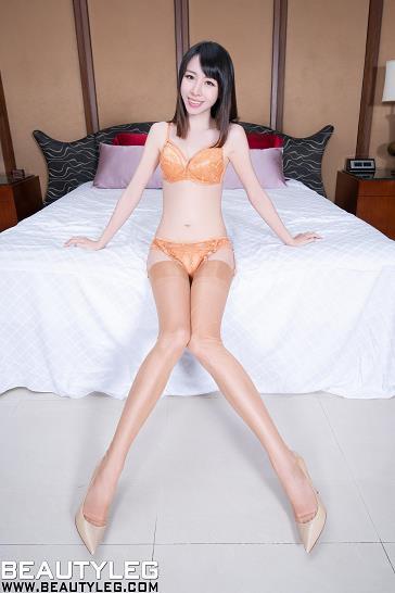 [beautyleg美腿写真]No.1693 Nancy 橙色蕾丝内衣加橙色丝袜美腿性感私房写真集