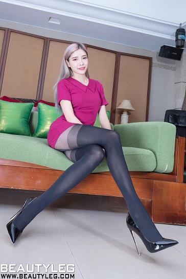 [beautyleg美腿写真]No.1695 Abby 红色紧身连衣裙加黑色丝袜美腿性感私房写真集