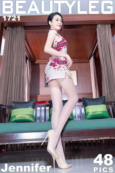 [beautyleg美腿写真]No.1721 Jennifer 米色连身短旗袍加肉色丝袜美腿私房写真集