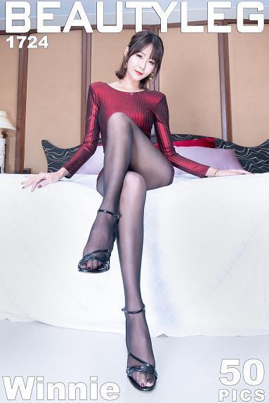 [beautyleg美腿写真]No.1724 Winnie小雪 红色紧身连衣裙加黑色丝袜美腿性感私房写真集