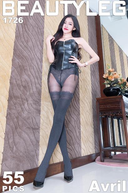 [beautyleg美腿写真]No.1726 Avril 黑色塑身皮衣加黑色丝袜美腿性感私房写真集