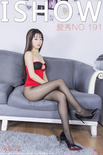 [ISHOW爱秀]NO.191 兔囡囡 红色抹胸衣加黑色丝袜美腿及紧身连体泳装性感私房写真集