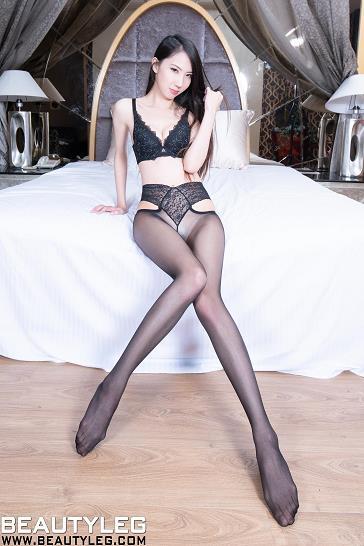 [beautyleg美腿写真]No.1763 Yoyo 黑色蕾丝内衣加黑色丝袜美腿性感私房写真集