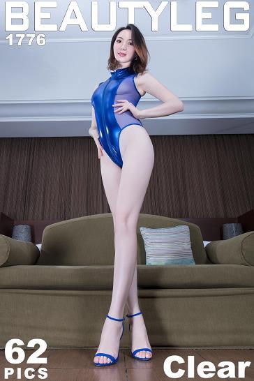 [beautyleg美腿写真]No.1776 Clear 蓝色紧身透视连体衣加白嫩修长美腿性感私房写真集