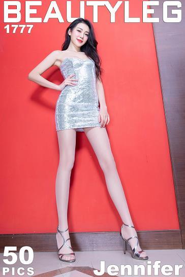 [beautyleg美腿写真]No.1777 Jennifer 银色抹胸连衣裙加肉色丝袜美腿性感私房写真集