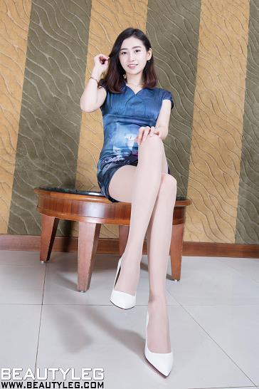 [beautyleg美腿写真]No.1778 Leonie 蓝色无袖连身裙加肉色丝袜美腿性感私房写真集