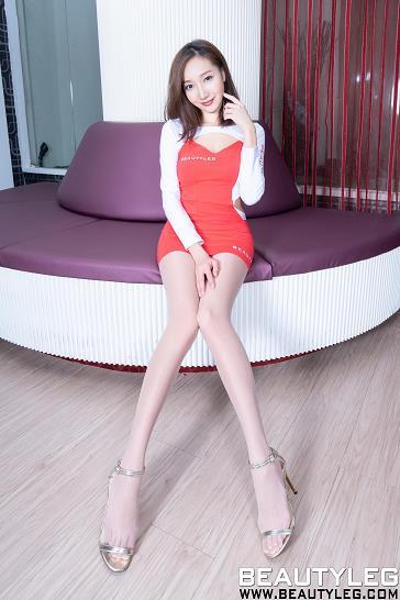[beautyleg美腿写真]No.1780 Tina 红白紧身连衣裙加肉色丝袜美腿性感私房写真集